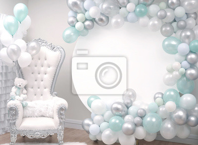 Fototapete Beautiful decoration armchair and balloons for a baby shower party.