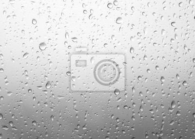 Fototapete beautiful Drops of rain on green glass background