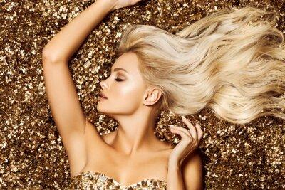 Fototapete Beautiful hair Girl. Healthy Long Hair. Blonde woman in golden flowers garden, princes