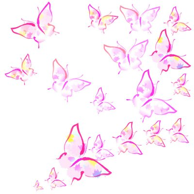 Fototapete beautiful pink butterflies, isolated  on a white