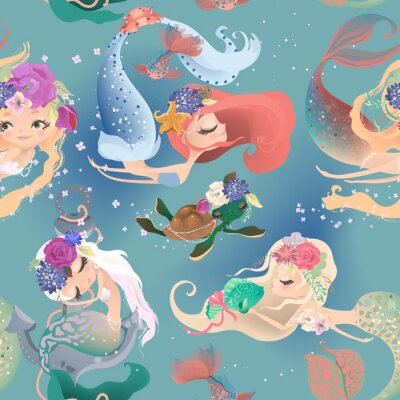 Fototapete Beautiful seamless pattern with cute mermaid girls, princess in floral wreath, bouquets, turtle and fish
