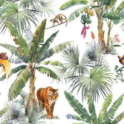 Fototapete Beautiful seamless pattern with watercolor tropical palms and jungle animals tiger, giraffe, leopard. Stock illustration.
