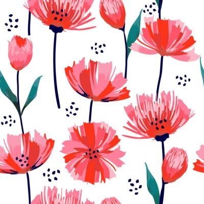 Fototapete Beautiful summer freshy Trendy Wild blooming flower pink tulip  seamless pattern in a hand drawing style