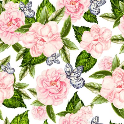Fototapete Beautiful watercolor seamless pattern with flowers of rose and peony, butterflies.