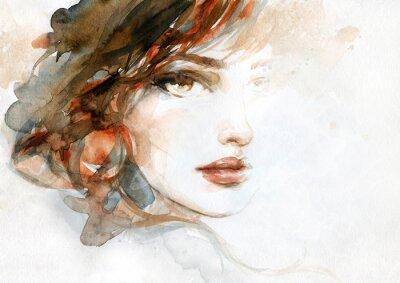 Fototapete beautiful woman. fashion illustration. watercolor painting