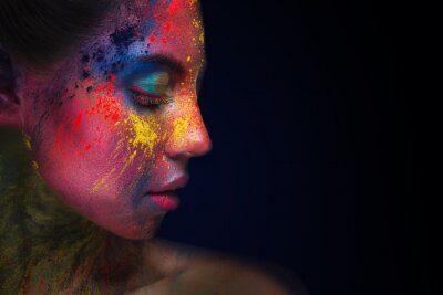 Fototapete Beautiful woman portrait with bright art make-up