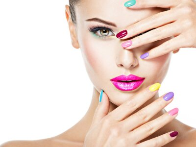 Fototapete beautiful woman  with colored nails