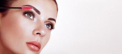 Fototapete Beautiful Woman with Extreme Long False Eyelashes. Eyelash Extensions. Makeup, Cosmetics. Beauty, Skincare