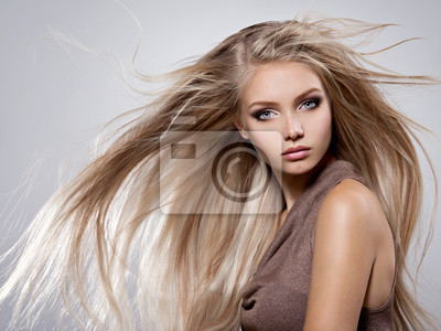 Fototapete Beautiful young woman with long straight white hair
