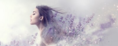 Fototapete Beauty model girl with lavender flowers . Beautiful young brunette woman with flying long hair profile portrait. Fantasy watercolor
