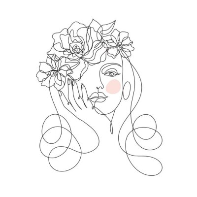 Fototapete Beauty woman face with flowers one line drawing art. Abstract minimal portrait continuous line. Minimalist Orchids flowers in hair Vector illustration