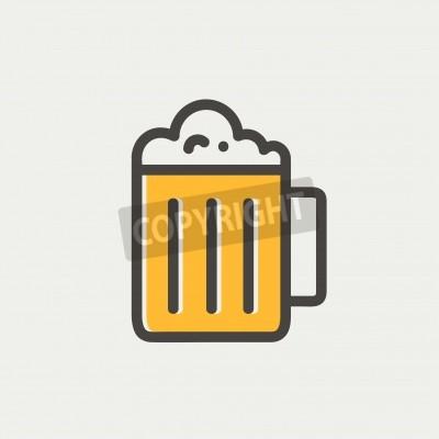 Fototapete Becher Bier icon dünne Linie für Web und mobile, modern minimalistisch flache Bauweise.