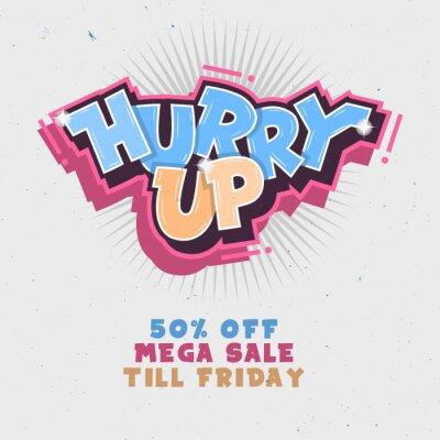 Beeile dich. Mega Salle bis Freitag. Komische Beschriftung Mit Funken.