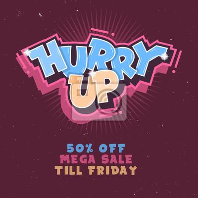 Beeile dich. Mega Verkauf bis Freitag. Komische Beschriftung Mit Funken.