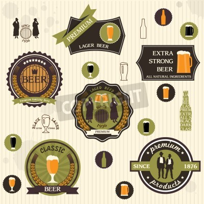 Fototapete   Beer badges and labels in retro style design set