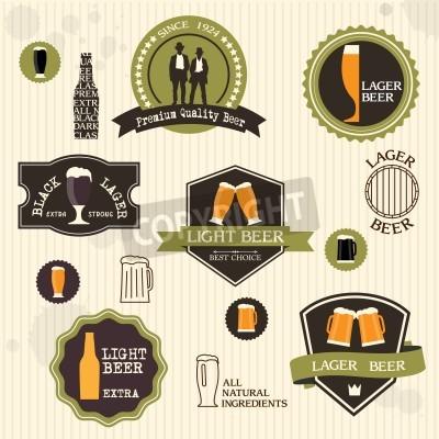 Fototapete Beer badges and labels in vintage style design set