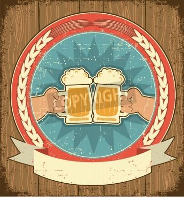 Fototapete Beer label set on old paper texture.Vintage background with man hands