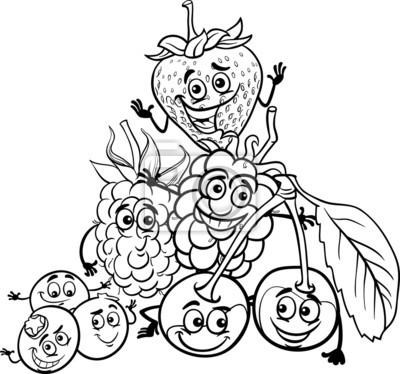 Beerenfrüchte cartoon für malbuch fototapete • fototapeten ...