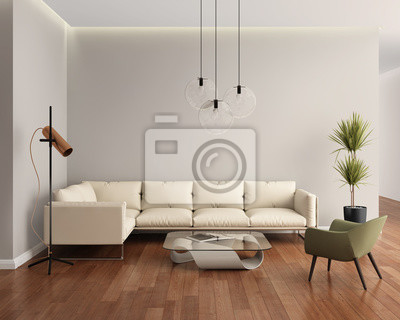 Fototapete: Beige leather contemporary modern living room