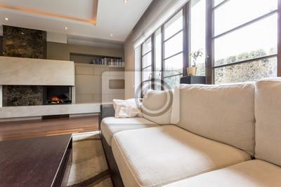 Beige sofa im wohnzimmer fototapete • fototapeten Tageslicht ...