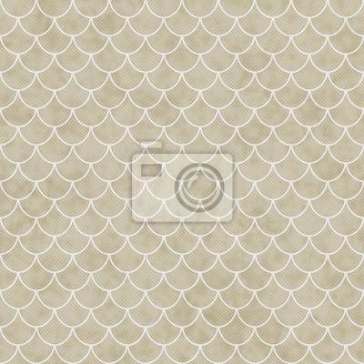 Fototapete Beige Und Weiß Shell Fliesen Muster Wiederholung Hintergrund