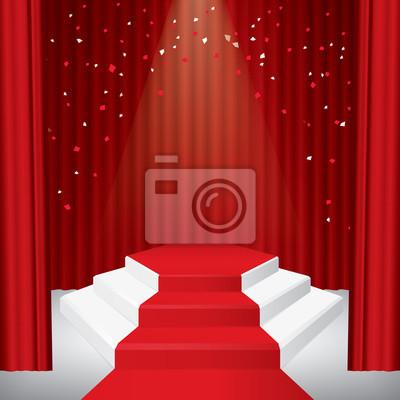 Beleuchtete Bühnenpodest mit Konfetti, roter Vorhang und rotem Teppich. Abbildung