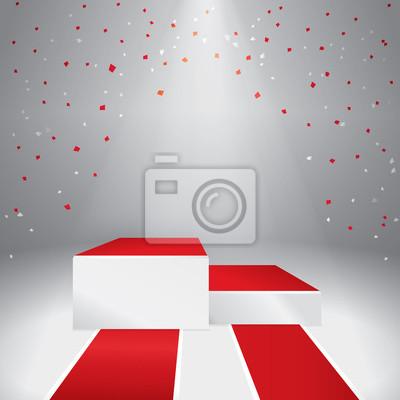 Beleuchtete Bühnenpodest mit Konfetti und rotem Teppich. Abbildung
