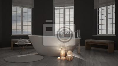 Beleuchtete kerzen in einem minimalistischen bad spa zen