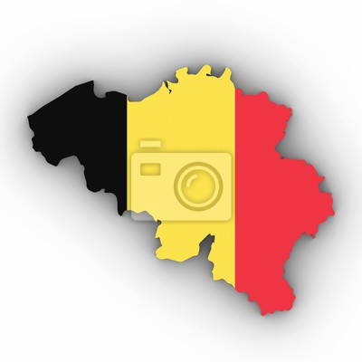 Belgien Karte Umriss.Fototapete Belgien Karte Umriss Mit Belgischen Flagge Auf Weiß Mit Schatten