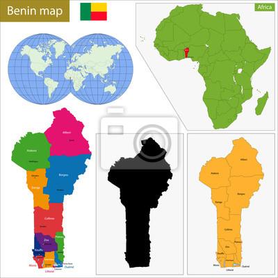 Benin map fototapete • fototapeten benin, administrative ...
