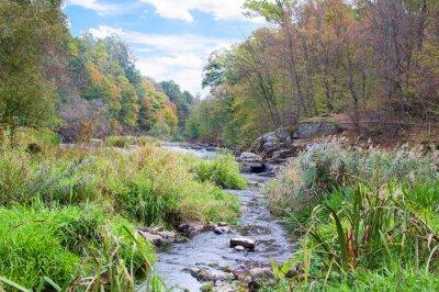 Fototapete Berg-Fluss im Herbst
