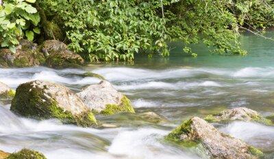 Fototapete Berg-Fluss in Abchasien, Landschaft. Reinigen Sie den Fluss fließt in den Bergen von Abchasien.