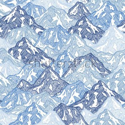 Fototapete Berge nahtlose Muster. Spaßgebirgszusammenfassungsabbildung. Vektor-illustration