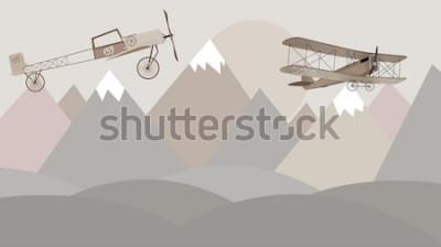 Fototapete Berge und Doppeldecker Kinderzimmer Tapete Design
