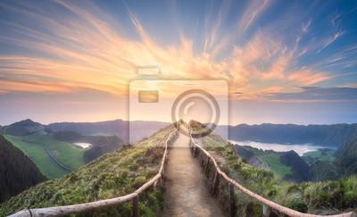 Fototapete Berglandschaft Ponta Delgada-Insel, Azoren