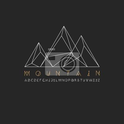 Berglinie Symbol, skizzieren Vektor-Logo-Illustration, lineare Piktogramm isoliert auf schwarz. Mit dünnen Linie Alphabet für Ihre Schlagzeile.