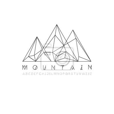 Berglinie Symbol, skizzieren Vektor-Logo-Illustration, lineare Piktogramm isoliert auf weiß. Mit dünnen Linie Alphabet für Ihre Schlagzeile.