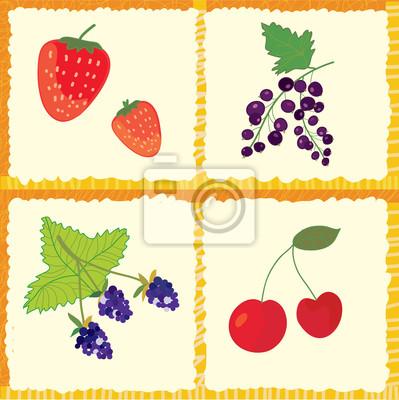 Berry und Früchte nahtlose Muster Karomuster