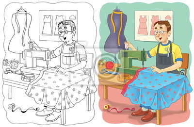 Berufe Malvorlage Illustration Für Kinder Fototapete Fototapeten
