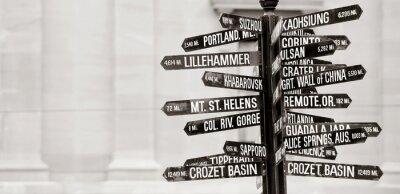 Fototapete Berühmte Wegweiser zu Sehenswürdigkeiten in Portland, Oregon