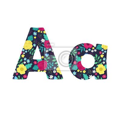 Beschriften Sie A von gezeichneten Blumen des schönen netten Frühlinges Hand auf schwarzem Hintergrund. Element des Blumenalphabetes. Vektor-Illustration, ABC-Element