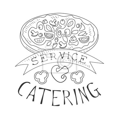 Bester Catering Service Handgezeichnete Schwarz Weiß Zeichen