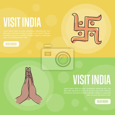 Besuchen Sie Indien Horizontale Banner Hakenkreuz Symbol Und