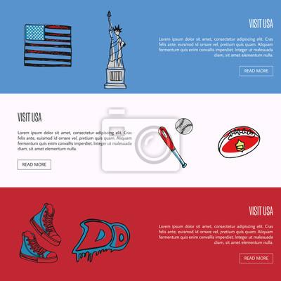 Besuchen sie usa banner. flagge, freiheitsstatue, baseball, rugby ...
