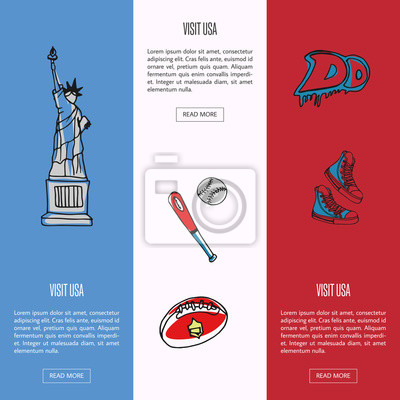 Besuchen sie usa banner. statue of liberty, baseball, rugby ...