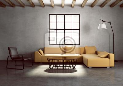 Betonwand zeitgenössischen dorf interieur, vintage-stil fototapete ...
