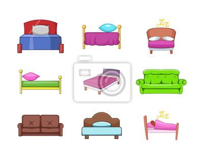 Bett Icon Set Cartoon Stil Fototapete Fototapeten Appartment
