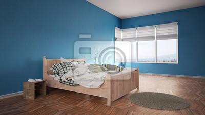 Fototapete Bett Im Schlafzimmer Mit Blauen Wänden