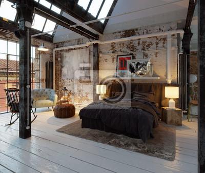Bett in alten industriellen vintage loft wohnung fototapete ...