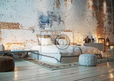 Bett in loft wohnung mit ziegelwand - schlafzimmer in vintage ...
